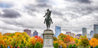 Boston Public Garden in fall