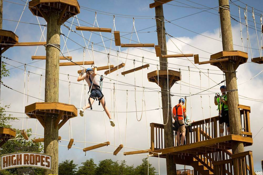 Ropes course at Kersey Valley Zipline in Archdale, North Carolina