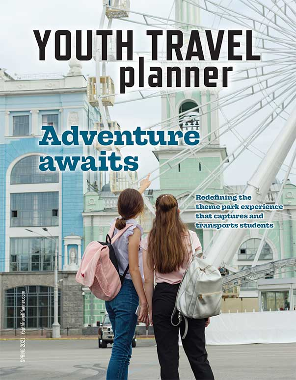Large mock cover of Youth Travel Planner magazine